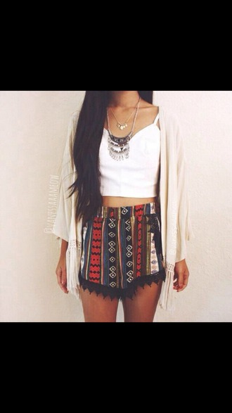 shorts tribal pattern boho coachella bohemian summer lace lace detailing black lace cardigan top jewels