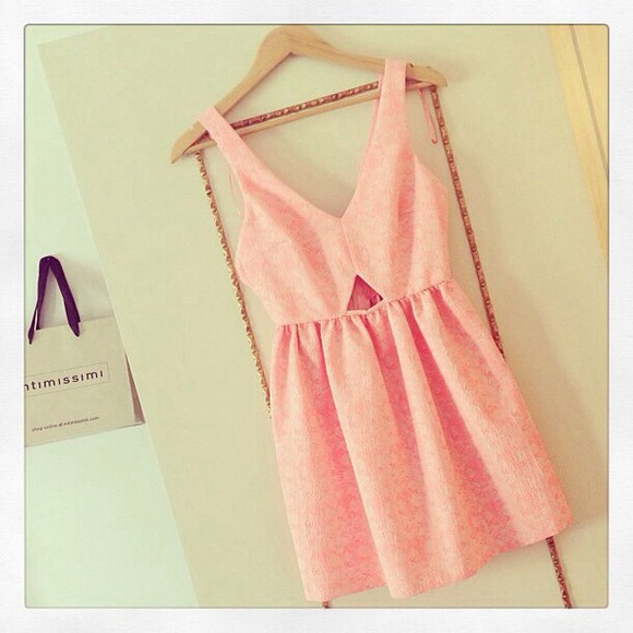 dress pink dress short dress girly cute sweet pretty in pink pink, cutout,