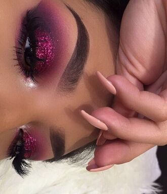 make-up eye shadow lipstick lip liner eyebrows glitter tumblr foundation concealer blush eyelashes purple pink eyeshadow palette