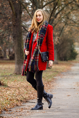 a cup of style blogger red coat fuzzy coat tartan scarf winter coat