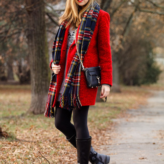 blogger tartan scarf winter coat a cup of style red coat fuzzy coat scarf red