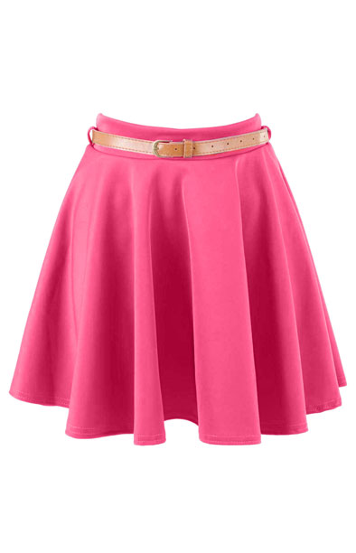 Coral Belted Skater Skirt at Fashion Union