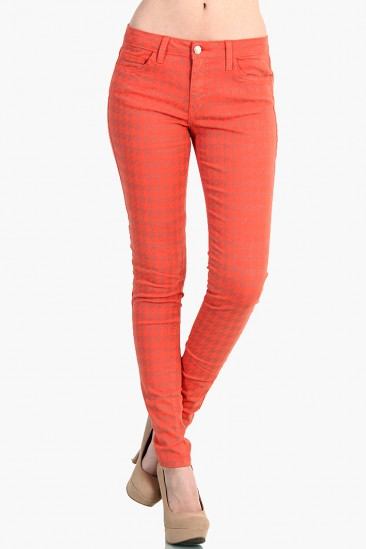 LoveMelrose.com From Harry & Molly | Houndstooth Print Denim Jean Pants - Coral