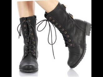 shoes black military style military boots cool girl