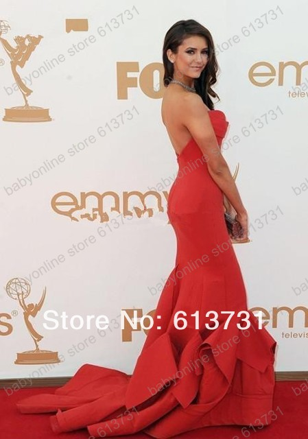 Wholesale   Nina Dobrev 63th Emmys Awards 2011 Red Carpet Sweetheart Red Mermaid Celebrity Dresses BO4123-in Celebrity-Inspired Dresses from Apparel & Accessories on Aliexpress.com