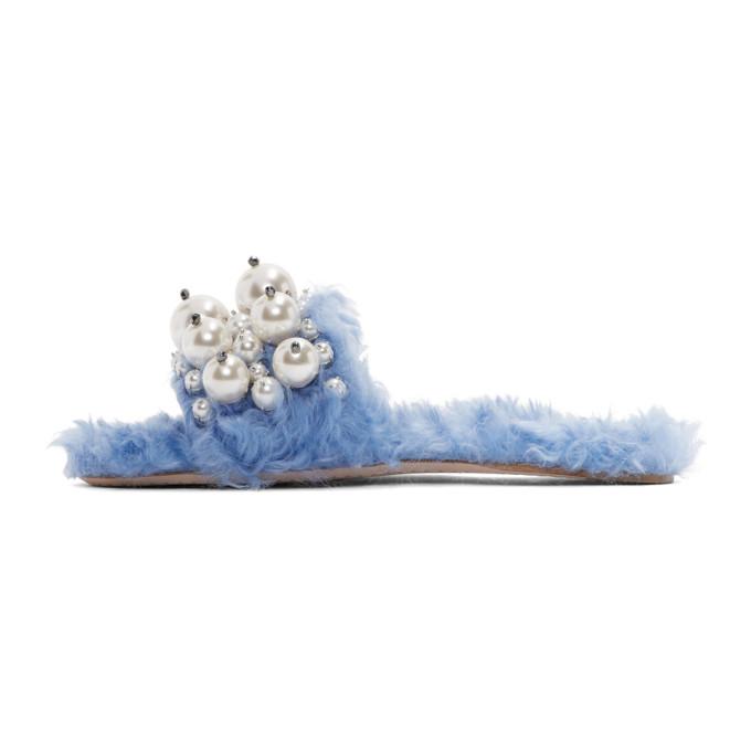 Miu Miu - Blue Eco Shearling Pearl Slides