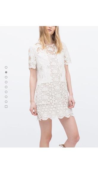 dress zara lace cute girl white pretty pale flowers