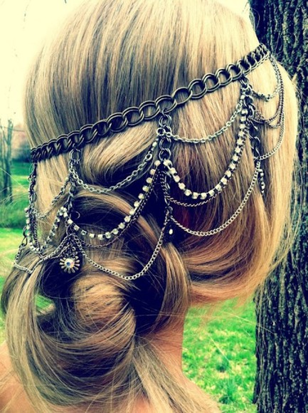 grass hair accessory bun silver chain tree blonde hair blonde flower low bun