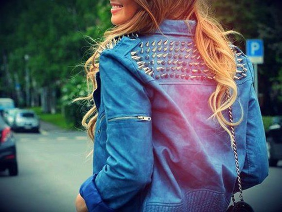 outfit jacket style fashion jeans jacket spikes spiked punk zipper chain blonde hair