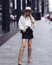 skirt,mini skirt,leather skirt,black skirt,knee high boots,sweater,shoulder bag,hat