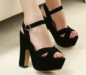 New Summer shoes super beautiful ankle strap high heels womens vintage thick heel sandals platform black size 35 39-inSandals from Shoes on Aliexpress.com