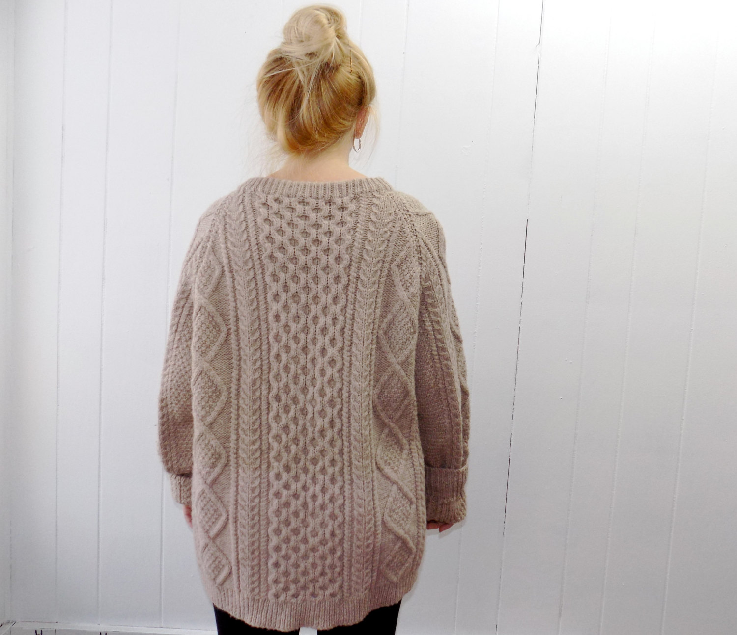 Vintage Cable Knit Tan Hand Knit Sweater Large