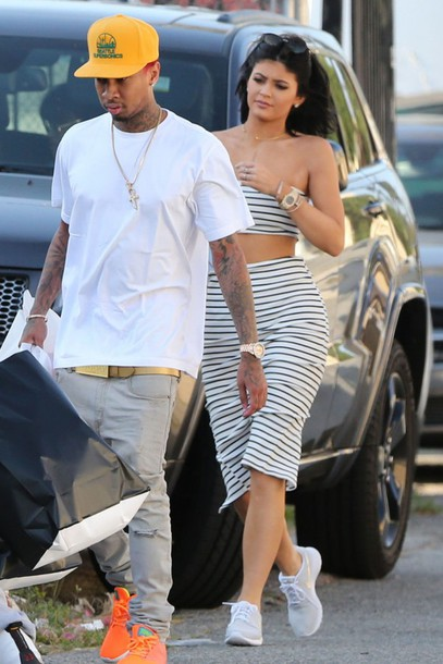 Skirt top stripes pencil skirt crop tops sneakers for How to get foundation out of a white shirt