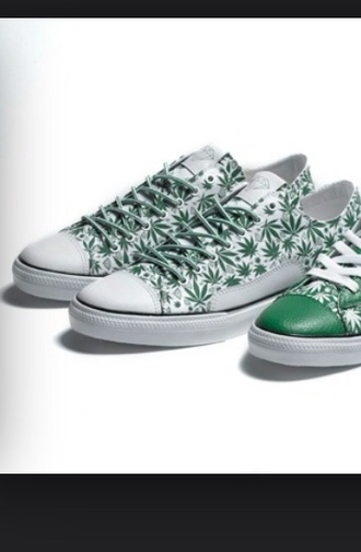 shoes weed marijuana pot pot leaf green white diamonds sneakers tennis shoes