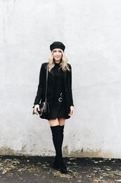 blondecollective,blogger,top,skirt,hat,shoes,bag,beret,black coat,boots,thigh high boots,all black everything
