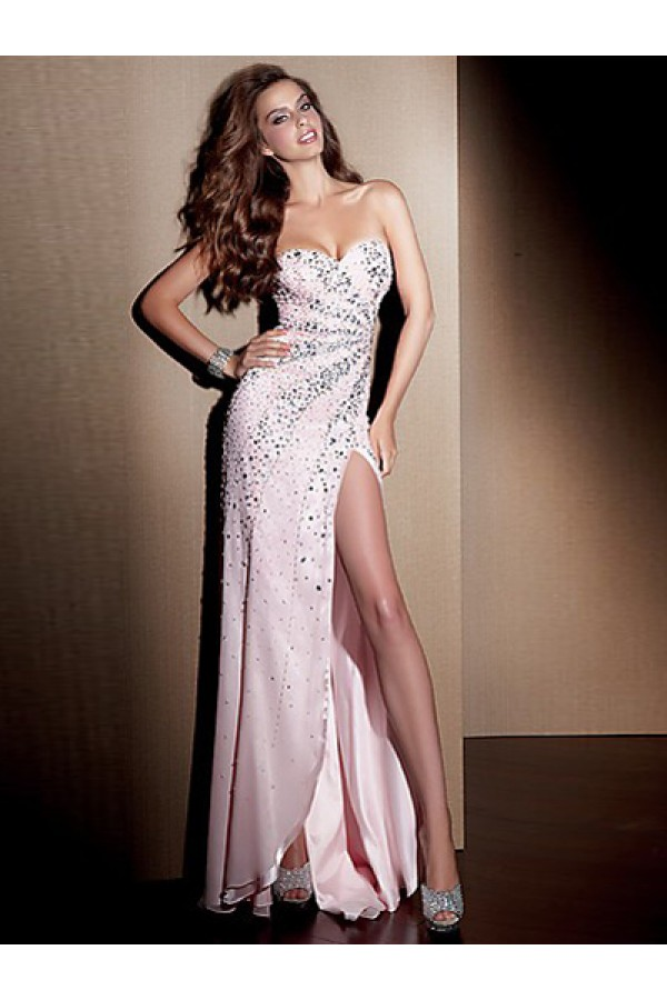 Sexy Sheath/Column Sweetheart Chiffon Pink Long Prom Dresses/Evening Dress With Beading