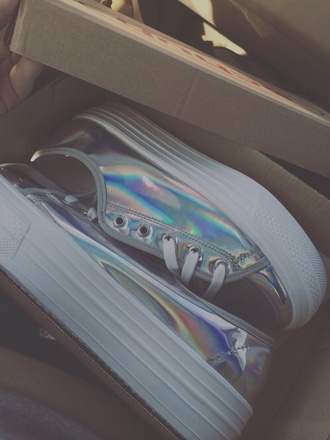 indie retro cute shoes 90s style 90s style soft grunge tumblr holographic holographic shoes seapunk pale style hollygram gorgeous hollographic