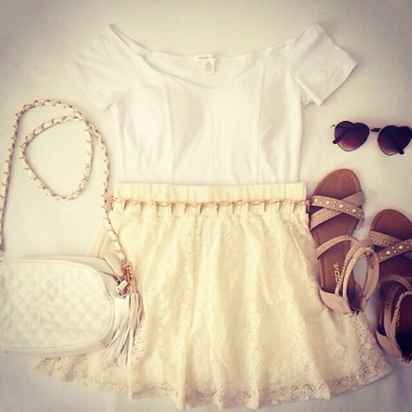 skirt shirt white tank top light brown sandals, off white skirt sooooo cute cuteeee cute purse heart shaped sunglasses gold jewelry gold spikes bag shoes sunglasses