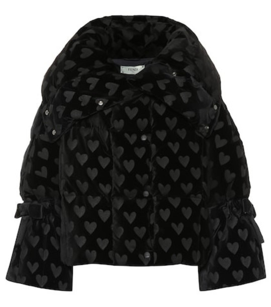Fendi Velvet down jacket in black
