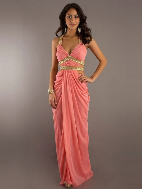 Dress: prom dress, pink dress, gold - Wheretoget
