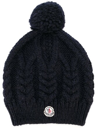 knit women beanie blue wool hat