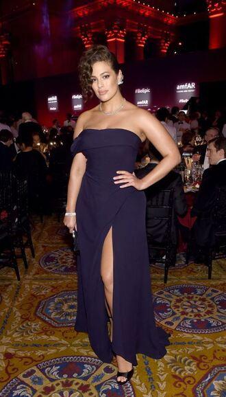 dress strapless gown slit dress curvy plus size plus size dress ashley graham amfar navy prom dress