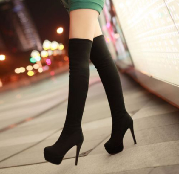 black boots thigh high boots heels over the knee boots