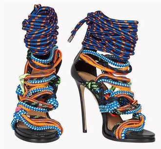 shoes colorful mutli-strap polka dots heels open toes sandals sexy