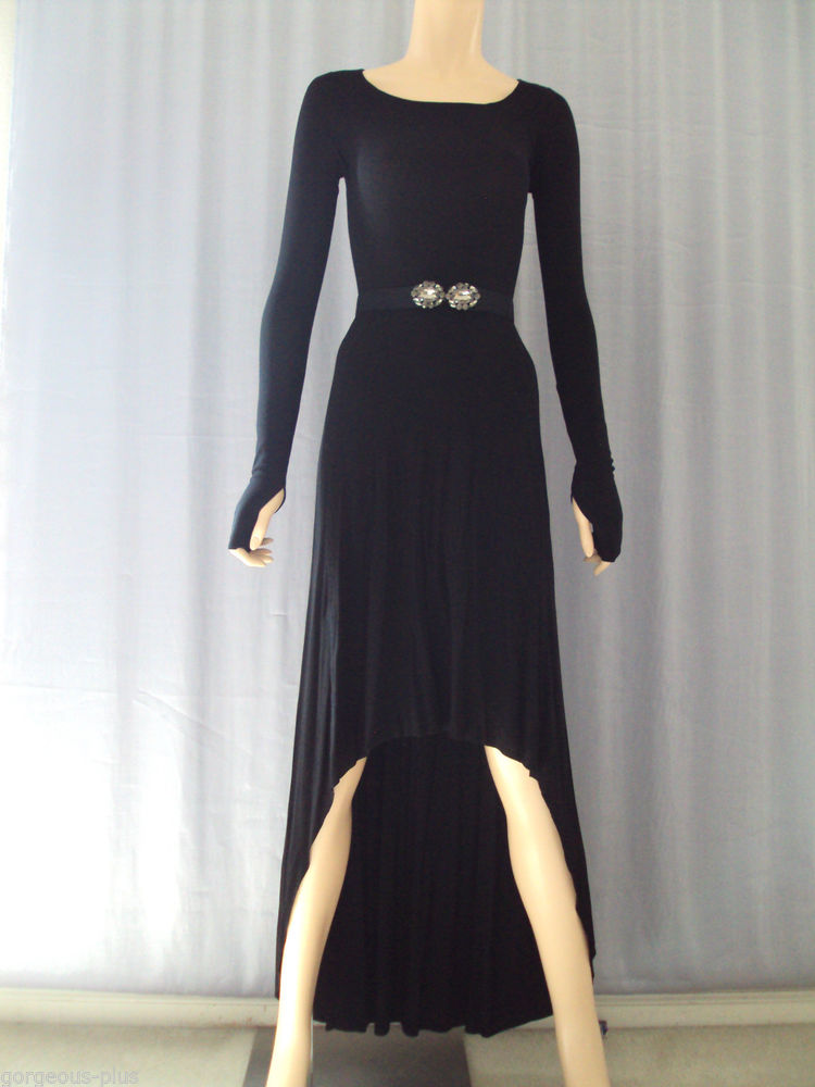 278 BCBG Jersey Dress Low High XXS 0 00 Aurela Black | eBay