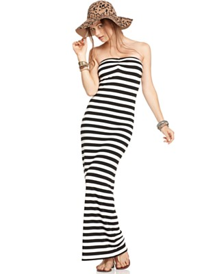 Jet Set Dress, Sleeveless Strapless Bandeau Neck Striped Maxi - Dresses - Juniors  - Macy's