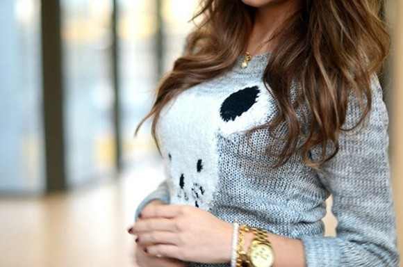 sweater grey sweet panda