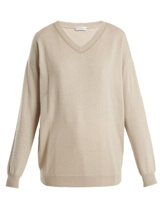 sweater embroidered beige