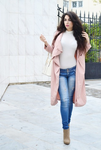 m&m fashion bites blogger cardigan pants shoes bag fall outfits pink coat handbag ankle boots