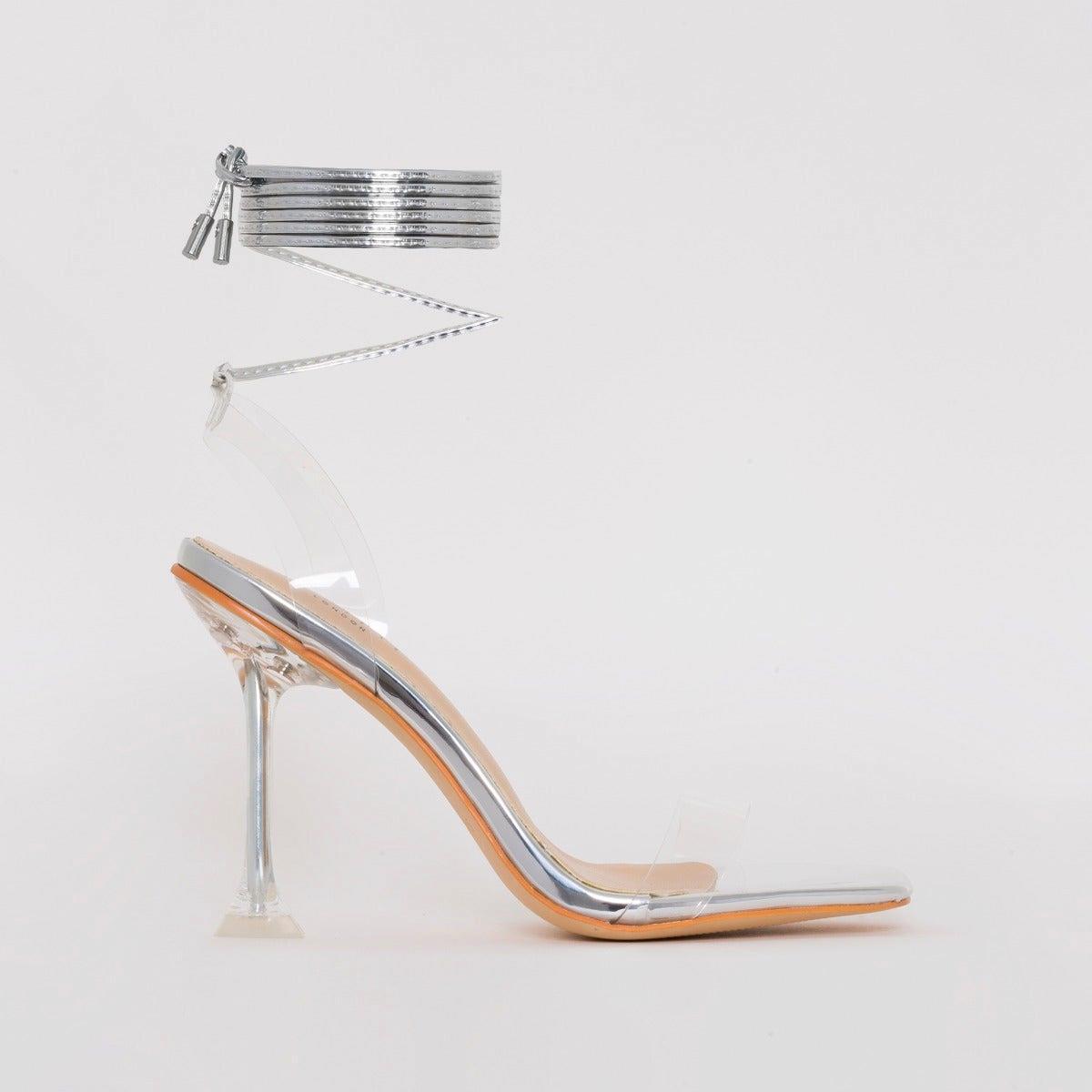 Lenor Silver Mirror Tie Up Heels