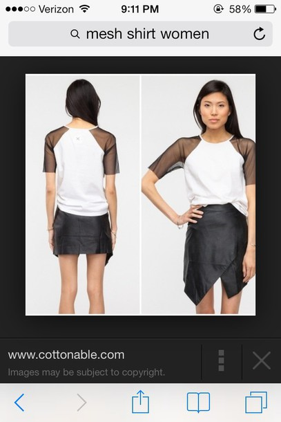 blouse black and white mesh