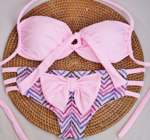 Cotton Candy Brazilian Bow Bikini BottomsLimited by AZTECASWIMWEAR