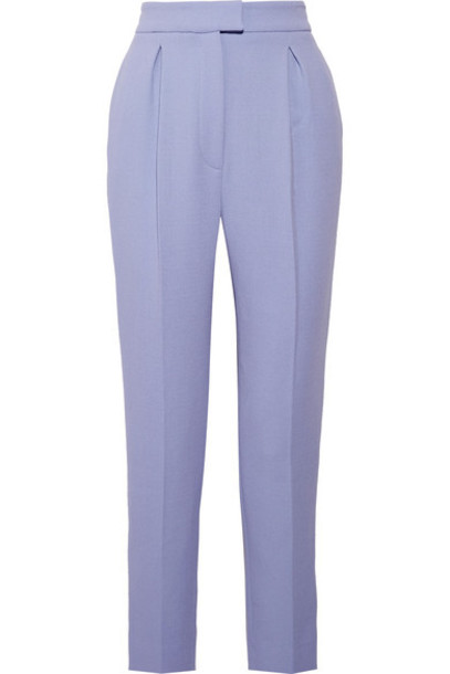 pants pleated wool lilac