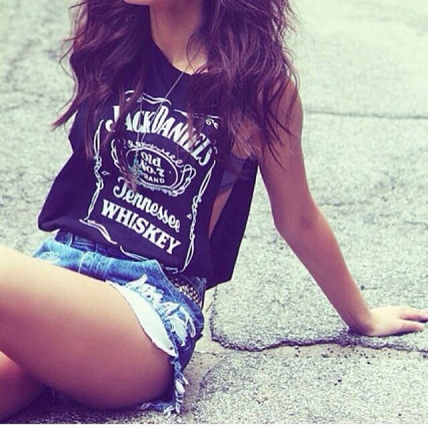 jack daniel's crop tops tank top black