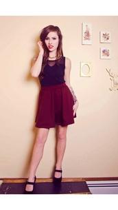 skirt,skater skirt,burgundy,cute,cute skirt,fabulous,pretty,perfect combination