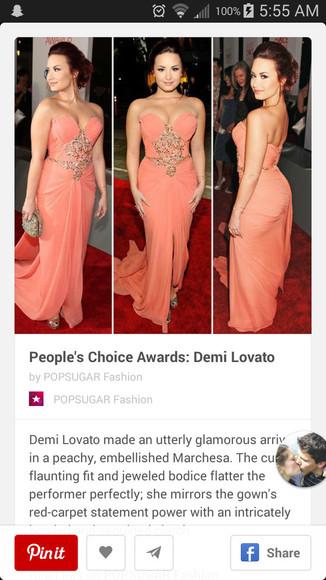 pink dress coral dress long dress embelished dress