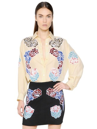 shirt embroidered silk top