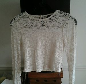 Topshop cream white lace crop top long sleeved 8 | eBay
