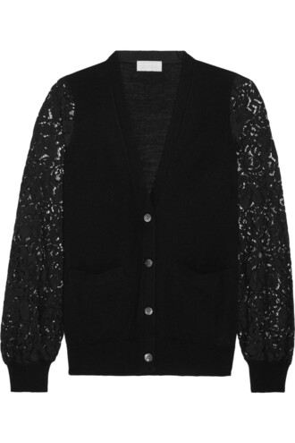 cardigan knitted cardigan lace black sweater
