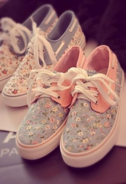 05c02f9896 shoes floral boat boat shoes print sneakers flowers blue pink vintage love  best floral vans cute