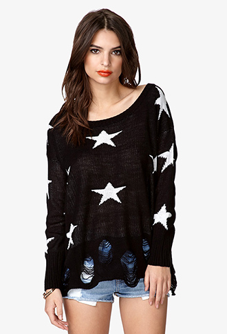 Shooting Star Destroyed Sweater | FOREVER 21 - 2057871835
