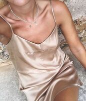 dress,silk,slip,peach,blush,slip dress,nude dress,summer outfits,summer dress,nude slip dress