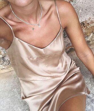 dress silk slip peach blush
