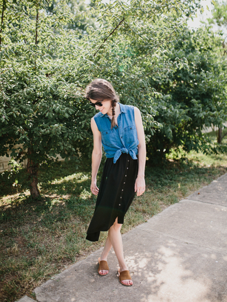 un-fancy blogger dress skirt top shirt sunglasses jewels slide shoes tie-front top black skirt summer outfits