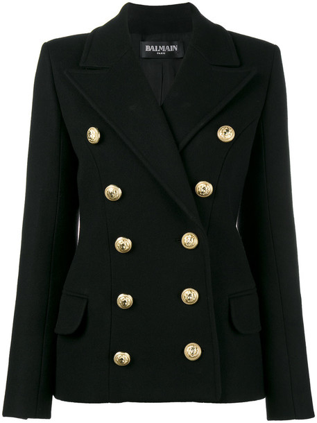 Balmain jacket double breasted women black wool