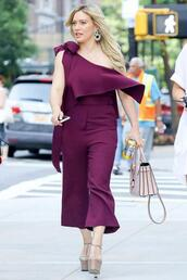 jumpsuit,platform heels,hilary duff,plum,pants,one shoulder,shoes
